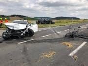 Beim schweren Unfall in Gunzwil LU wurden fünf Personen verletzt, zwei davon lebensbedrohlich. (Bild: Luzerner Polizei)