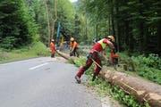 Wegen des Geländes geht es nicht anders: Arbeiten finden auf der Strasse statt, diese muss zeitweise gesperrt werden. (Bild: Martin Rechsteiner)