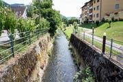 Blick auf die kanalisierte Ron von der Perlenstrasse-Brücke aus. (Bild: Manuela Jans-Koch (Root, 12. Juli 2018)