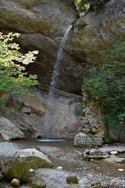 Eine wohltuende Erfrischung gibt es derzeit am versteckten Wattwiler Wasserfall, wo der Feldbach zu Tale rauscht. (Bild: Anina Rütsche)
