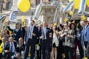 Die Cinque Stelle und ihr Chef Luigi Di Maio feiern die neue Rentenregelung für ehemalige Abgeordnete. (Bild: Massimo Percossi/EPA, Rom, 12. Juli 2018)