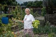 Beatrice Jordan mit Zwiebeln und Salat – einem Teil ihrer üppigen Ernte. (Bild: Pius Amrein (Emmen, 25. Juni 2018))