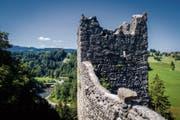 Steil fällt das Gelände neben der Ruine Ramschwag zur Sitter hin ab. Ein Teil der Burg droht ins Tobel zu stürzen. (Bild: Bilder: Benjamin Manser)