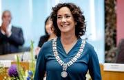Femke Halsema bei der Vereidigung als Bürgermeisterin von Amsterdam. (Bild: Robin van Lonkhuijsen/EPA (12. Juli 2018))