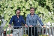Herbert Imbach (links, parteilos) und Martin Waldis (SVP) kämpften am Sonntag um das Amt des Gemeindepräsidenten. Imbach holte im zweiten Wahlgang am meisten Stimmen. Bild: Dominik Wunderli (10. Juni 2018)