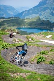 Am Samstag und Sonntag wurde der neue Bike Trail vom Jochpass nach Trübsee offiziell eröffnet. (Bilder Roger Gruetter, Engelberg, 14. Juli 2018)