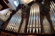 Die grosse Orgel in der Luzerner Hofkirche: Hier spielte Anton Bruckner 1880. (Bild: Nadia Schärli)