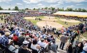 Die Arena des 113. Thurgauer Kantonalen Schwingfests in Lengwil. (Bild: Reto Martin, 29.April 2018)