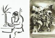 Die Skizze links zum Thema «Handeln» hat Willy Fries 1934 als Vorarbeit für «Der Arme Mann» angefertigt. Im Buch ist 1935 schliesslich die Tuschzeichnung rechts zum Thema «Handeln» erschienen. (Bilder: PD)