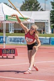 Géraldine Ruckstuhl wird ihrer Favoritenrolle beim Speerwurf gerecht und wird Schweizer Meisterin. (Bild: Hanspeter Roos (Zofingen, 14. Juli 2018)