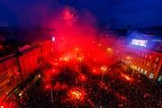 Über eine halbe Millionen Kroaten empfingen ihre Fussballer in der Hauptstadt Zagreb. (Bild: AP Photo/Nikola Solic)