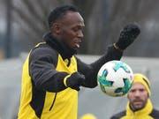 Im März dieses Jahres trainierte Usain Bolt mit dem deutschen Bundesligisten Borussia Dortmund (Bild: KEYSTONE/EPA/SRDJAN SUKI)