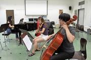 Kaum in Altdorf angekommen, musizieren die Studenten bereits miteinander. (Bild: Bilder: Markus Zwyssig (Altdorf, 17. Juli 2018))