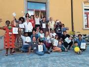Fröhliche Stimmung zum Abschluss des Grund- und Alphabetisierungskurses Juni 18 der Quartierschule Oberriet. (Bild: pd)