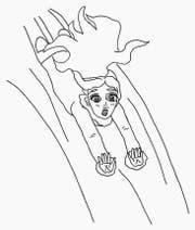 Gardi taucht in die für Erwachsene unsichtbare Märchenwelt ein. (Zeichnung: Anne Estermann)