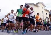Die Läuferinnen und Läufer beim Start des Ägeriseelaufs im letzten Jahr. (Bild: Werner Schelbert (Oberägeri, 22. Juli 2017))