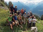 Die gut gelaunte Wandergruppe vor dem Abstieg nach Engelberg. (Bild: Georg Epp (Engelberg, 14. Juli 2018)
