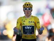 Geraint Thomas lässt in der Königsetappe der Tour de France seine Muskeln spielen (Bild: KEYSTONE/AP/CHRISTOPHE ENA)