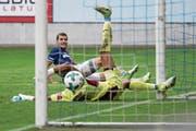 Sein Einsatz am Samstag im Heimspiel gegen Neuchâtel Xamax ist ungewiss: FCL-Topskorer Pascal Schürpf. (Bild: Philipp Schmidli (Luzern, 12. August 2017))