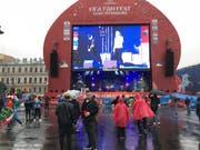 Wenig los in der Fanzone von St. Petersburg am Tag vor Schweiz-Schweden. (Bild: Raphael Gutzwiller)