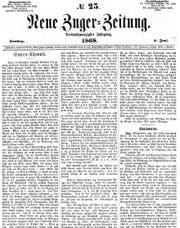 Die erste Seite der Neuen Zuger Zeitung vom 4. Juni 1868 Bild: PD
