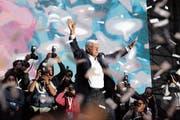 Der strahlende Sieger: Mexikos neuer Präsident Andrés Manuel López Obrador. (Bild: Alex Cruz/EPA (Mexiko-Stadt, 2. Juli 2018))