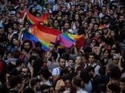 Trotz eines Verbotes nahmen am Sonntag rund 1000 Personen an der Gay-Pride-Parade in Istanbul teil. (Bild: KEYSTONE/AP/EMRAH GUREL)