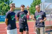 Der St.Galler Dreizack: Alain Sutter, Peter Zeidler, Matthias Hüppi (von links). (Bild: Andy Müller/Freshfocus)