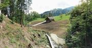 2015 wurde der Bachlauf betoniert und als Aquädukt über die Quellregion Ebenacker geführt. (Bild: Heinz Ruppanner)