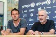 Raphaël Nuzzolo (links) und sein Trainer Michel Decastel während der Medienkonferenz vor dem Saisonstart. (Bild: Patrick Hürlimann/Keystone (Lignieres, 19. Juli 2018))
