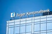 Das Logo der Zuger Kantonalbank in Zug. (Bild: Urs Flüeler/Keystone (25. März 2018)