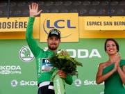 Weltmeister Peter Sagan trägt nicht nur das grüne Trikot des punktbesten Fahrers, er gewann an der Tour de France zum dritten Mal in diesem Jahr eine Etappe (Bild: KEYSTONE/EPA/SEBASTIEN NOGIER)