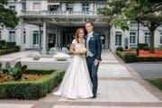 Martina Hingis und Harald Leeman bei ihrer Hochzeit in Bad Ragaz. (Bild: Grand Resort Bad Ragaz)