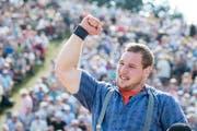 Diese Jubelgeste kennen wir: Joel Wicki siegte am Sonntag beim Menzberg-Schwinget. (Urs Flüeler/Keystone (Rigi-Staffel, 22. Juli 2018))