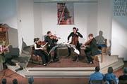Das Streichquartett Es-Dur op. 127 bei seinem Auftritt. (Bild: Roger Zbinden (Baar, 22. Juli 2018))