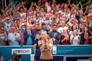 Nina Betschart lässt ihren Emotionen freien Lauf. (Bild: Tim Buitenhuis/CEV (Utrecht, 20. Juli 2018))