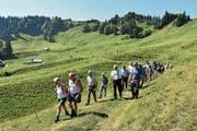 In lockeren Gruppen wanderten die Teilnehmer von Alp zu Alp. (Bild: Beatrice Bollhalder)