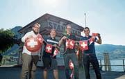 Die Organisatoren des Vereins OK 31 sorgen am 31. Juli für ein Fest im Hafenareal von Stansstad: Thomas Elsener (v.l.), Florian Imfeld, Thomas Mattle und Jonas Imfeld. (Bild: Corinne Glanzmann, Stansstad, 25. Juli 2018)