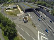 Blick auf den Tunnel Reussport. (Bild: René Meier, Luzern, 8. Juni 2014)