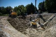 Der legendäre Bauhof mit Kontaktbar ist nur noch eine Baugrube, am Freitag, 27. Juli 2018, in Wittenbach. (TAGBLATT/Benjamin Manser)