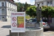 Die Gemeinde Wattwil macht per Plakat auf das im ganze Kanton geltende Feuerverbot im Wald und in Waldnähe aufmerksam. (Bild: Ruben Schönenberger)
