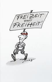 Eine der vielen Karikaturen, mit denen das Orte-Literaturheft das Thema der 1.-August-Reden bebildert. (Bild: Magi Wechsler)