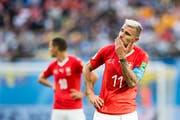 Ein enttäuschter Valon Behrami nach dem Spiel (Bild: Laurent Gilliéron / Keystone, St. Petersburg, 3. Juli 2018)