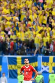 Ein enttäuschter Granit Xhaka nach dem Aus gegen Schweden. (Bild: Keystone)