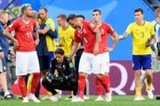 Enttäuschung nach dem Spiel bei Valon Behrami, Yann Sommer, Haris Seferovic und Granit Xhaka (Bild: Laurent Gilliéron / Keystone (St. Petersburg, 3. Juli 2018))