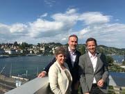 Das Führungstrio der neuen Luzerner Bildungsgruppe HFT/Seitz v.l.n.r.: Barbara Haller Rupf (Schulleitung HFT), Patrick Rüedi (Direktor HFT/Seitz), Lukas Keiser (Schulleitung Seitz).