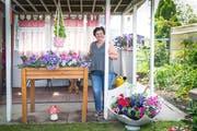 Miroslava Jankovic in ihrem prämierten Garten. Die Idee mit dem bepflanzten Schirm hat sie schon vor 20 Jahren irgendwo gesehen und diese Saison erstmals umgesetzt. (Bild: Ralph Ribi)