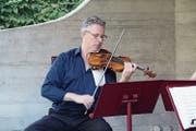 Lorenz Gamma beim Lehrerkonzert im Pavillon des Hauses der Musik. (Bild: Paul Gwerder (Altdorf, 25. Juli 2018)