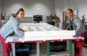 Alexandra Mangold-Stadler und Gina Cornelia Meister bearbeiten am grossen Tisch in ihrer Firma eine Folie. (Bild: Dieter Ritter)