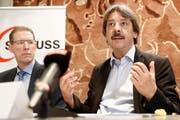 Für Paul Rechsteiner, Präsident des Gewerkschaftsbunds, ist klar: «Der heutige Lohnschutz ist nicht verhandelbar.» (KEYSTONE/Peter Klaunzer)